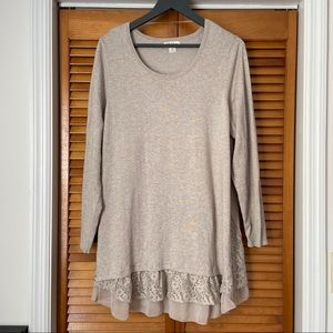 Style & Co. | Oatmeal Lace Hem Tunic Sweater